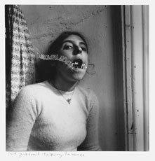Francesca Woodman, photo of young woman with chain in mouth