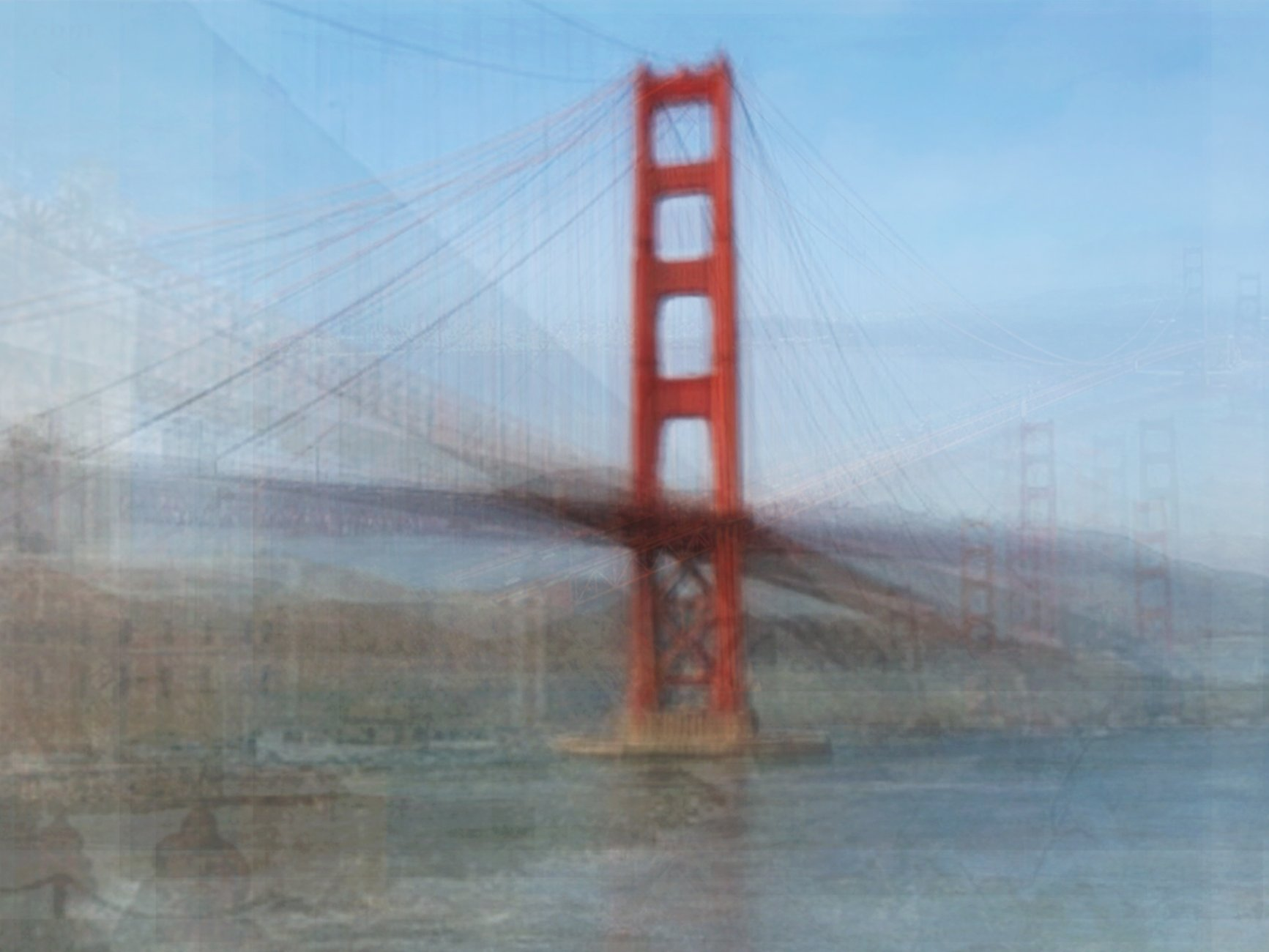 photograph of golden gate bridge with multiple overlays and blurred