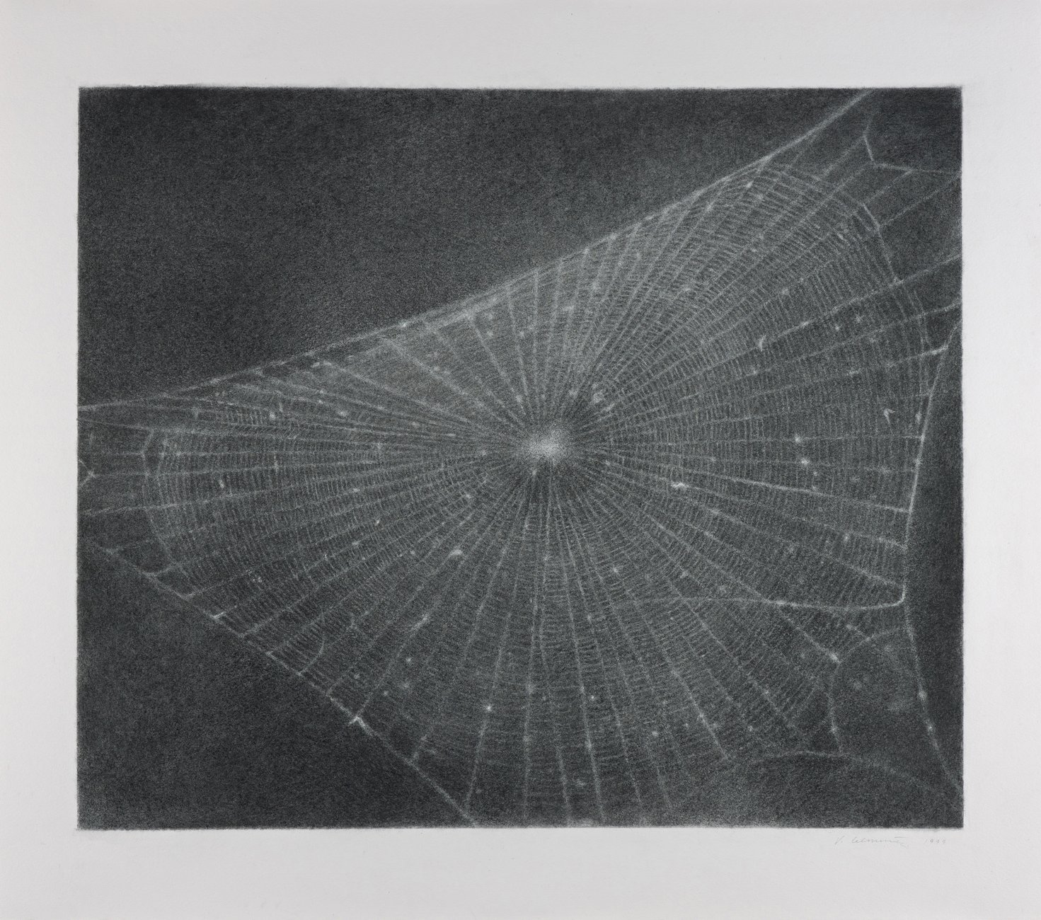black and white drawing of a spider web