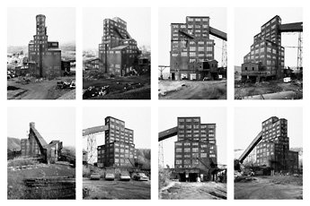 Belcher, grid of eight photographs of industrial building