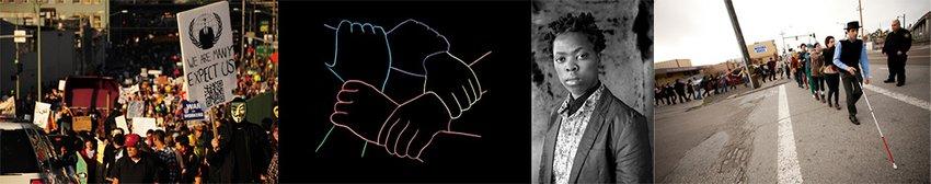 A mashup of photographs illustrating public activism