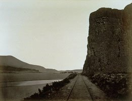 Carleton Watkins, photographic print train track and cliff