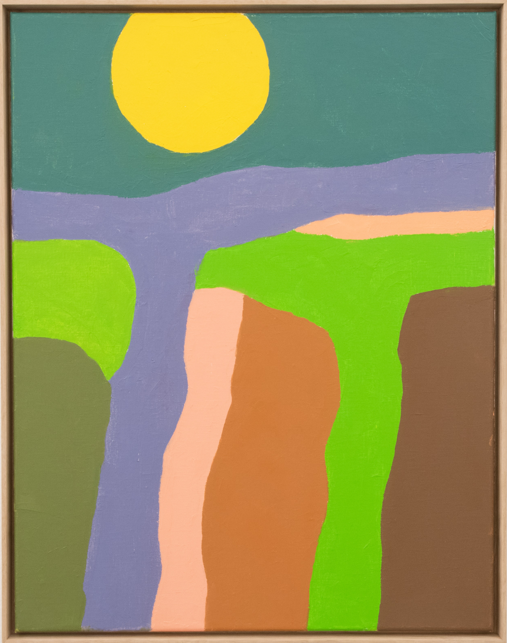 Etel Adnan, abstract painting with yellow circle and multicolored shapes