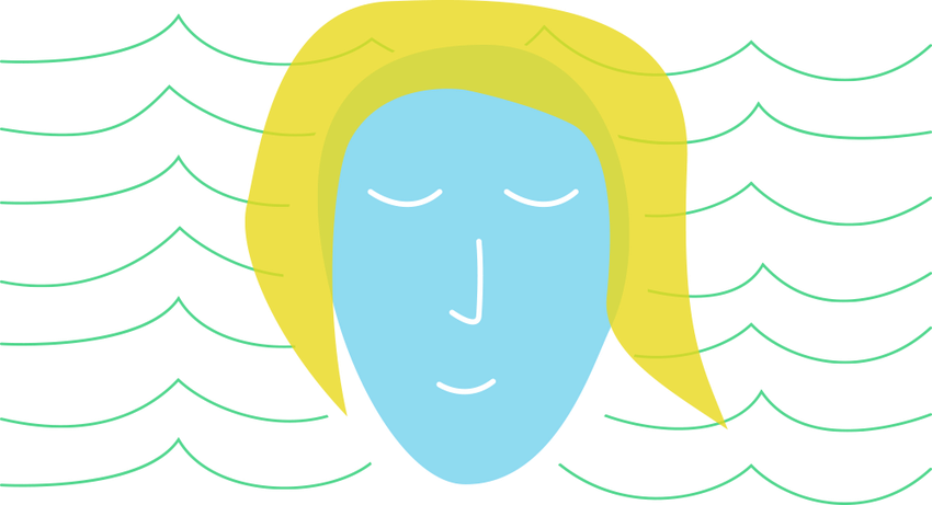A stylized illustration of a blue face with yellow hair on a white background surrounded by blue wave lines