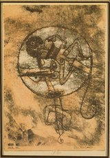 Paul Klee lithograph print of man on yellow paper