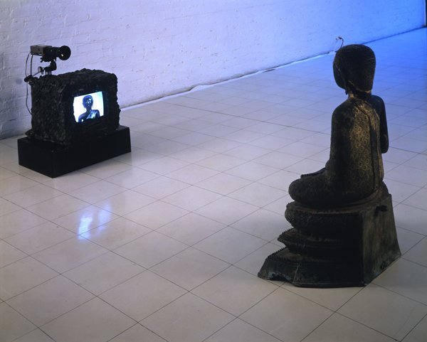 Nam June Paik, buddha sculpture facing television displaying buddha