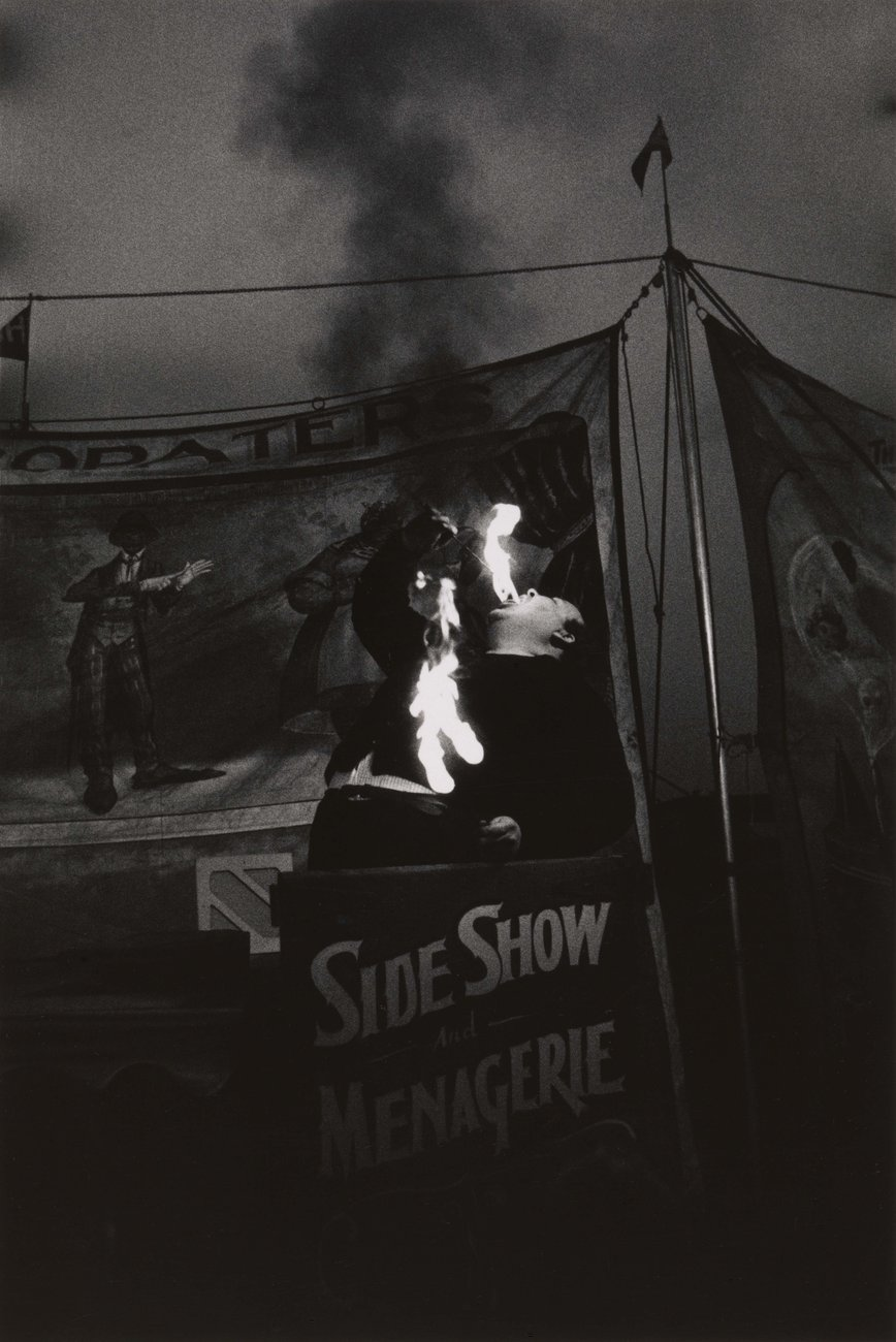 Artwork image, Diane Arbus, Fire Eater at a carnival