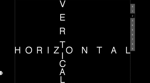 The words horizontal and vertical arranged based on their meaning over a black screen