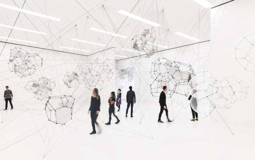Exhibition installation view, ​Tomás Saraceno: Stillness in Motion—Cloud Cities​, 2017
