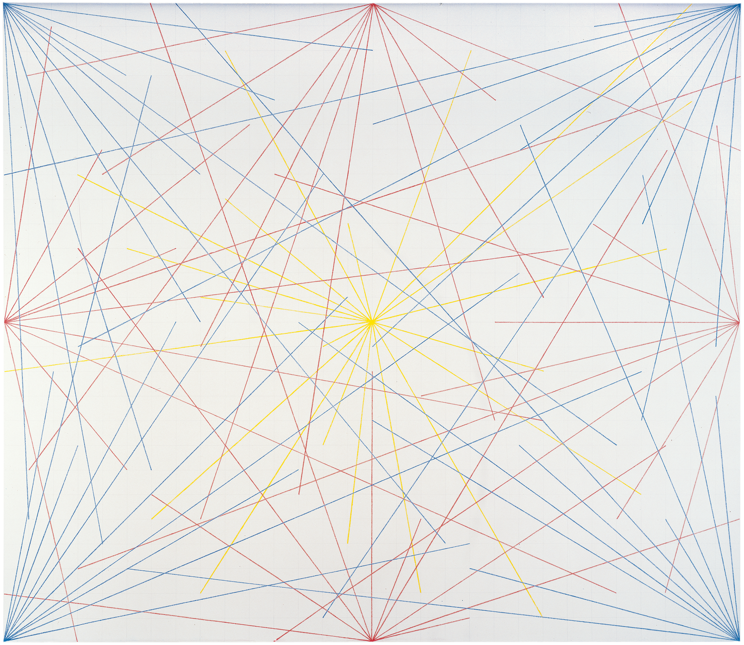 A white canvas with straight, intersecting blue, red, and yellow lines