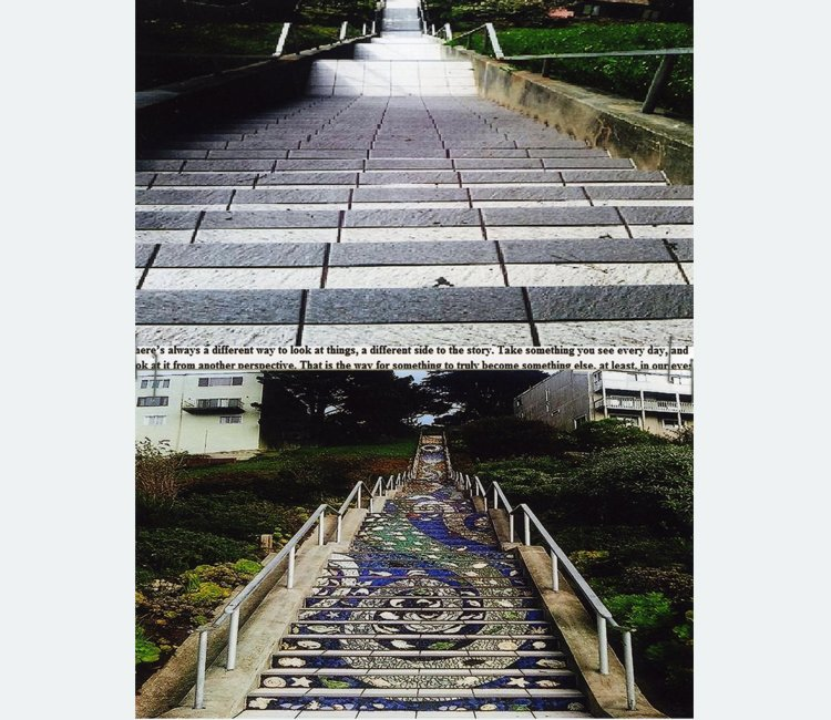 Two photographs of stairs, one taken from above and one from below, are stacked vertically and separated by text