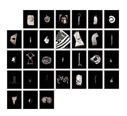 Nigel Poor, grid of thiry black and whiteimages of single objects