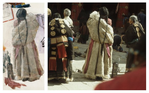 Source photograph taken in Tibet by Robert Rauschenberg and used in Port of Entry, ca. 1985, alongside a detail from the artwork. Courtesy the Robert Rauschenberg Foundation