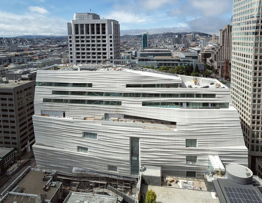 The new SFMOMA expansion building, with views of the city behind