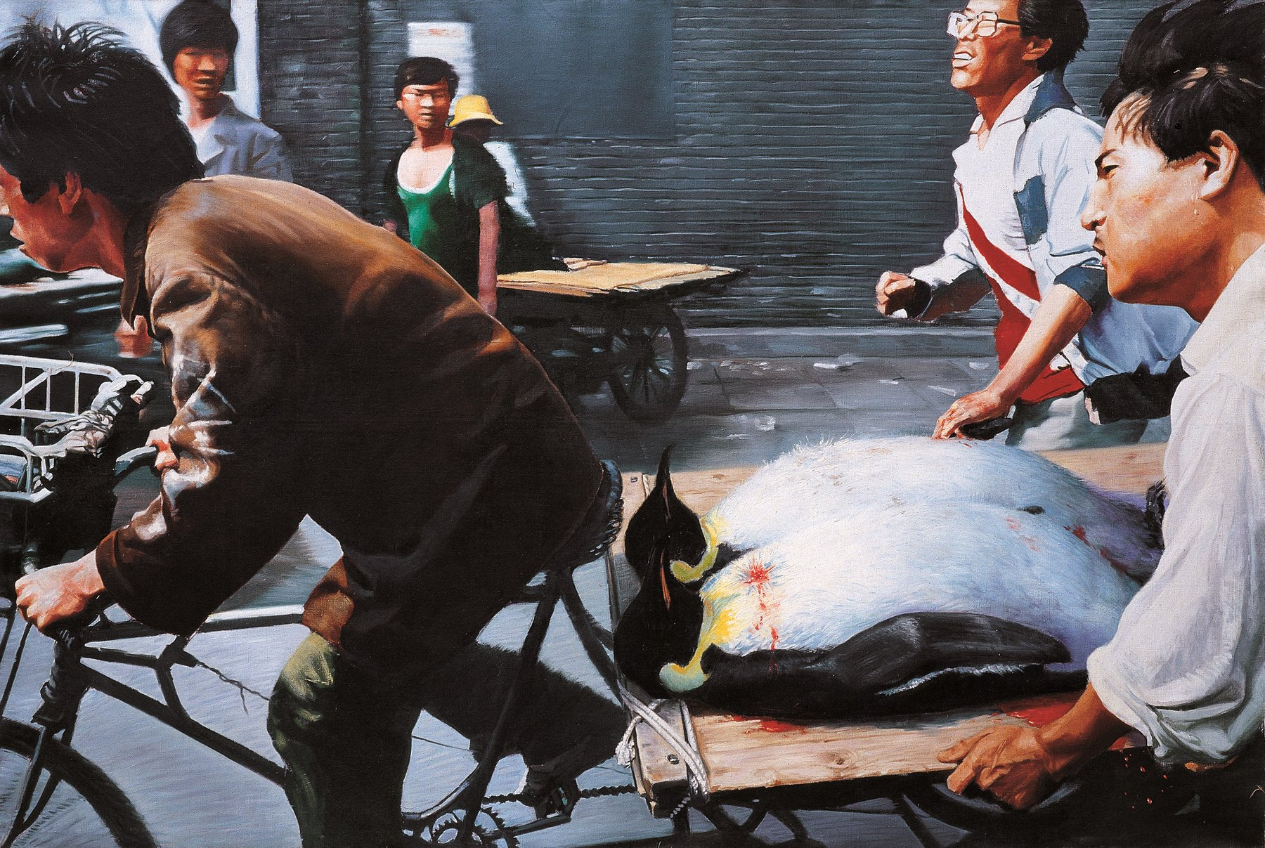 painting of men biking and pulling two dead penguins