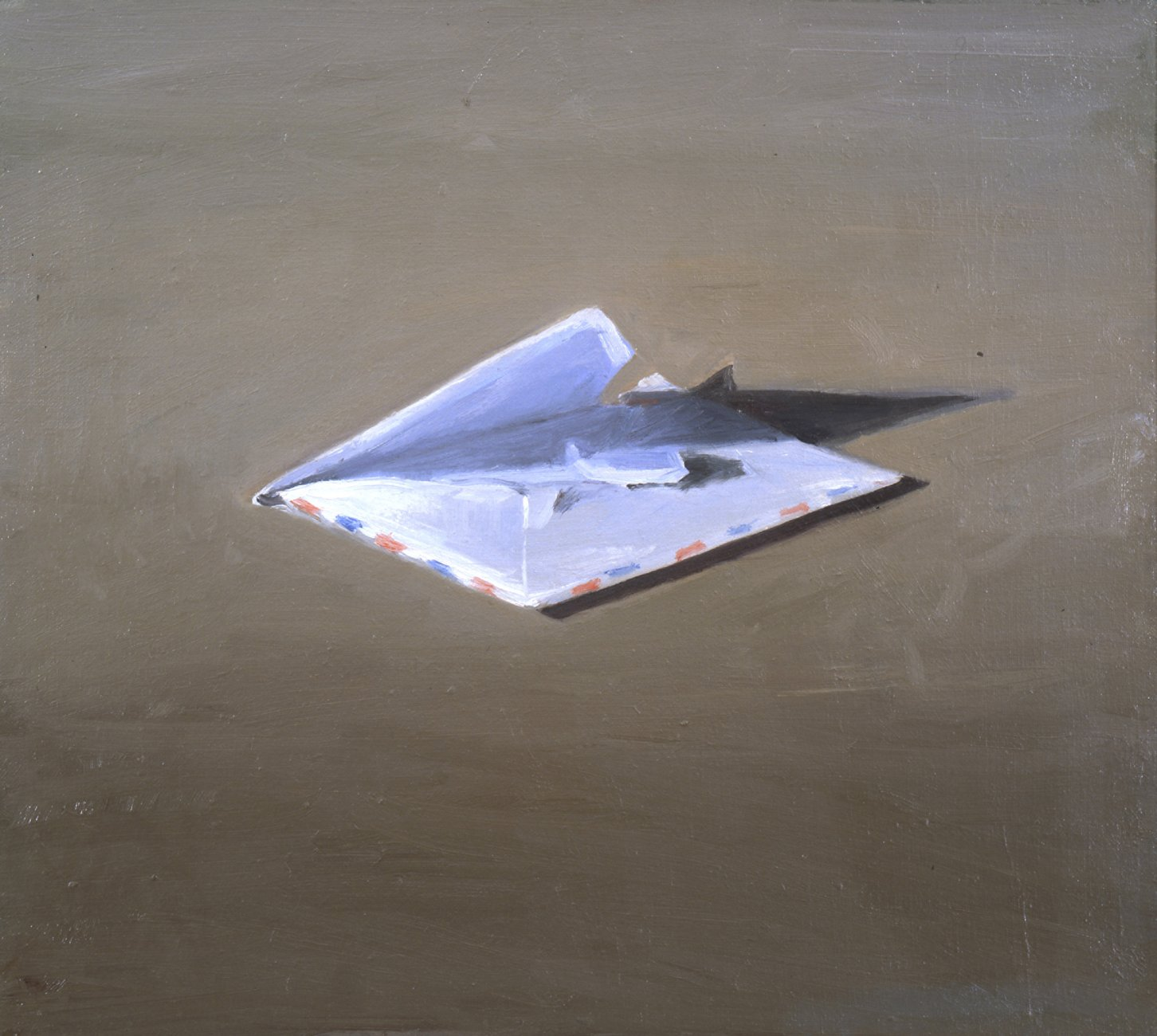 painting of an envelope on a painting, Vija Celmins