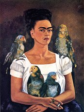 frida kahlo, self portrait with parrots