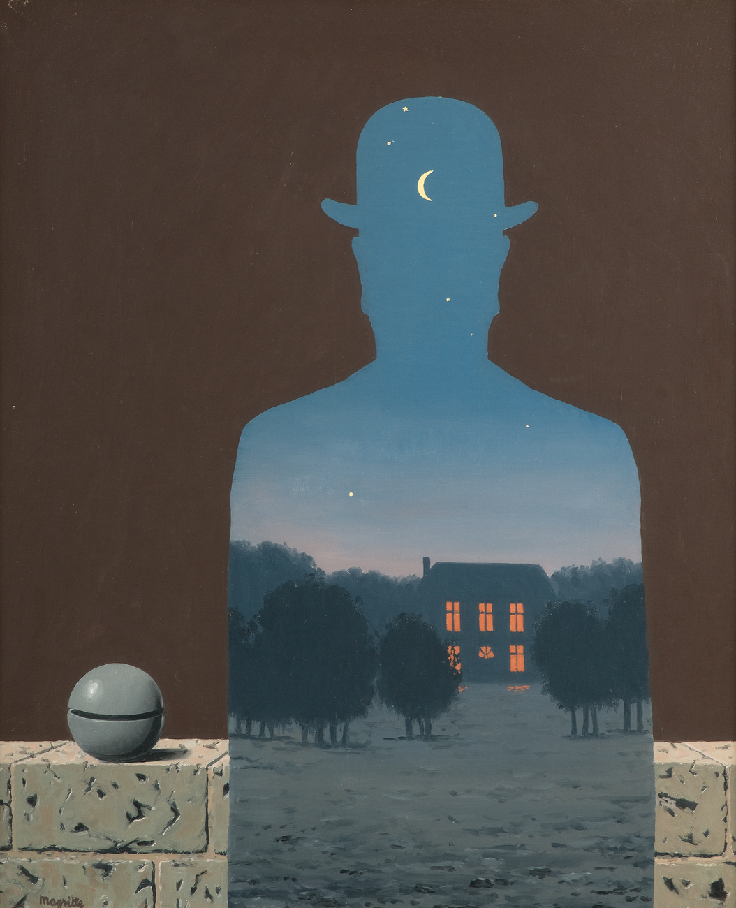 An evening scene of a house surrounded by trees is contained within the silouette a man in a bowler hat, standing in front of a stone balcony