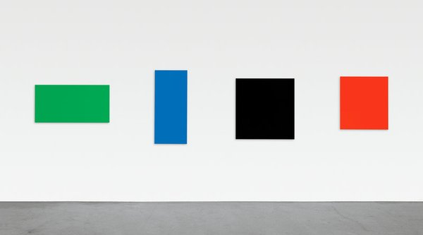 Color block paintings on a white wall