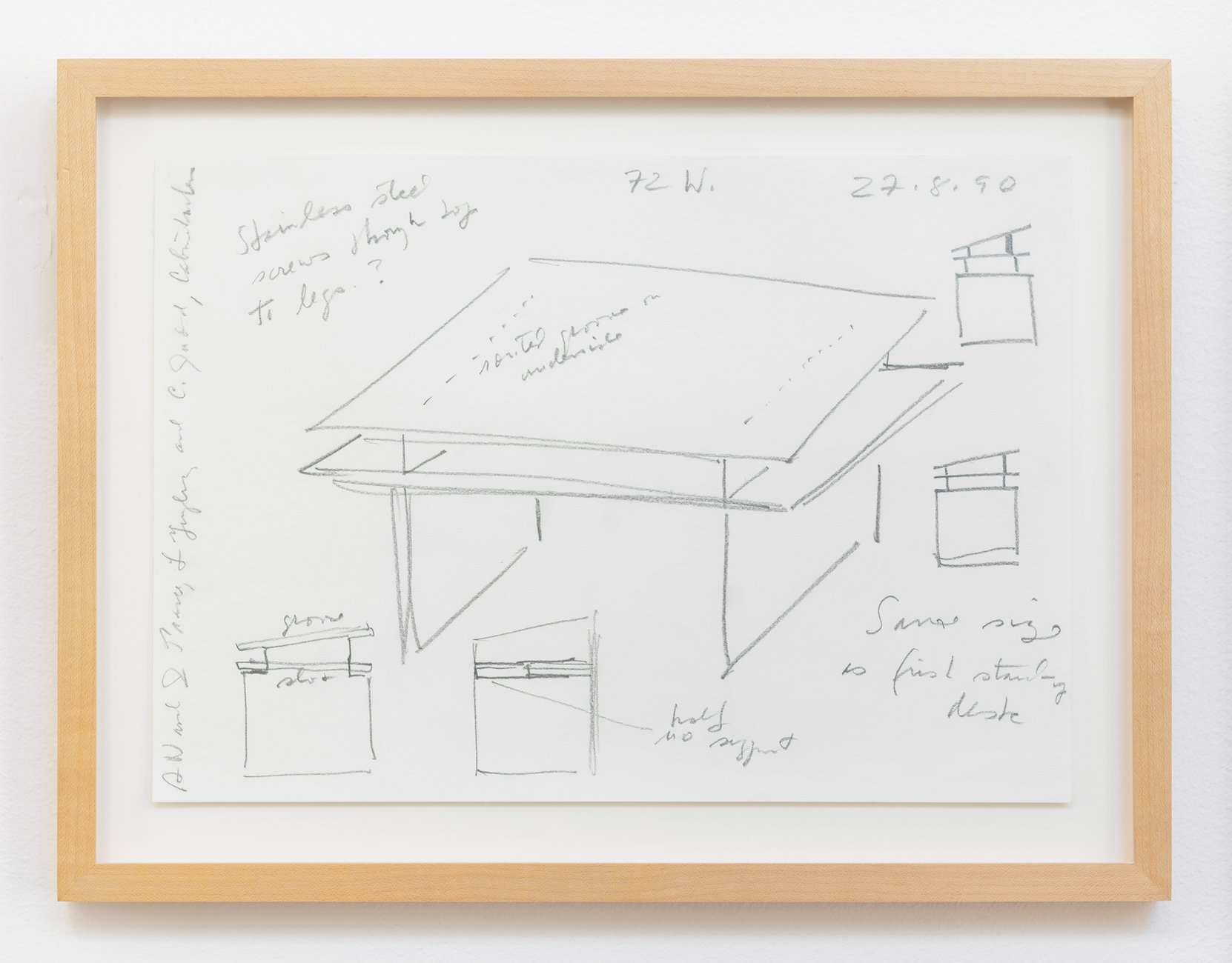 Donald Judd drawings for building a desk
