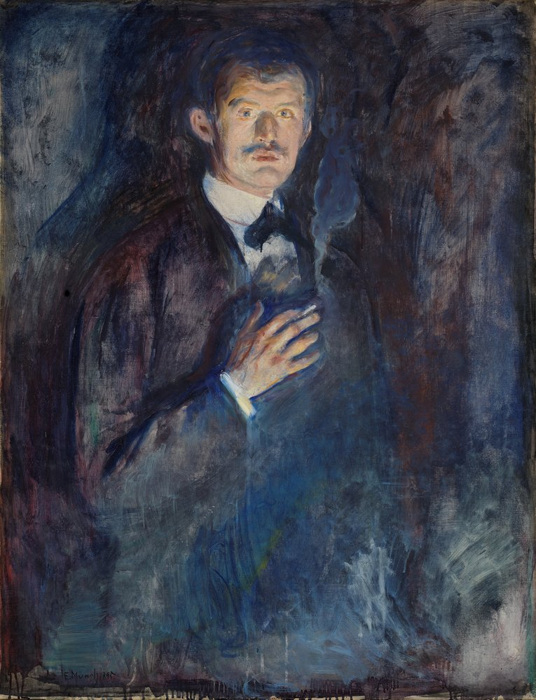 Artwork image, Edvard Munch, Selvportrett med sigarett (Self-Portrait with Cigarette)