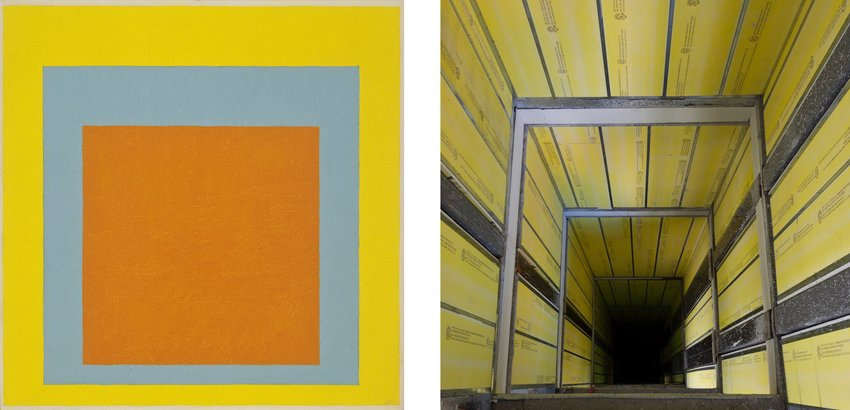Yellow and orange squares next to a yellow hallway receding into perspective