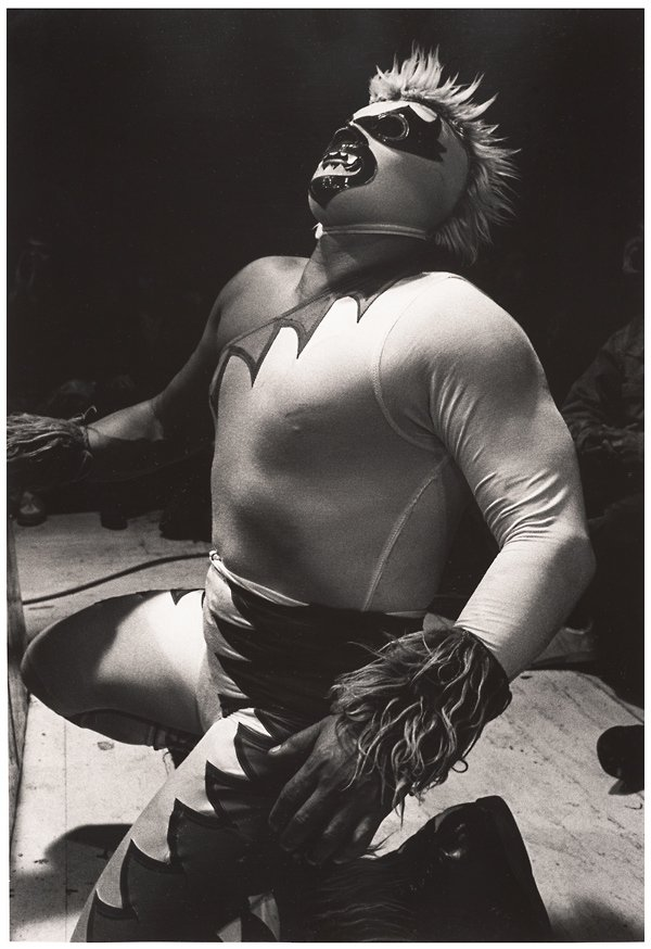 black and white image of mexican wrestler