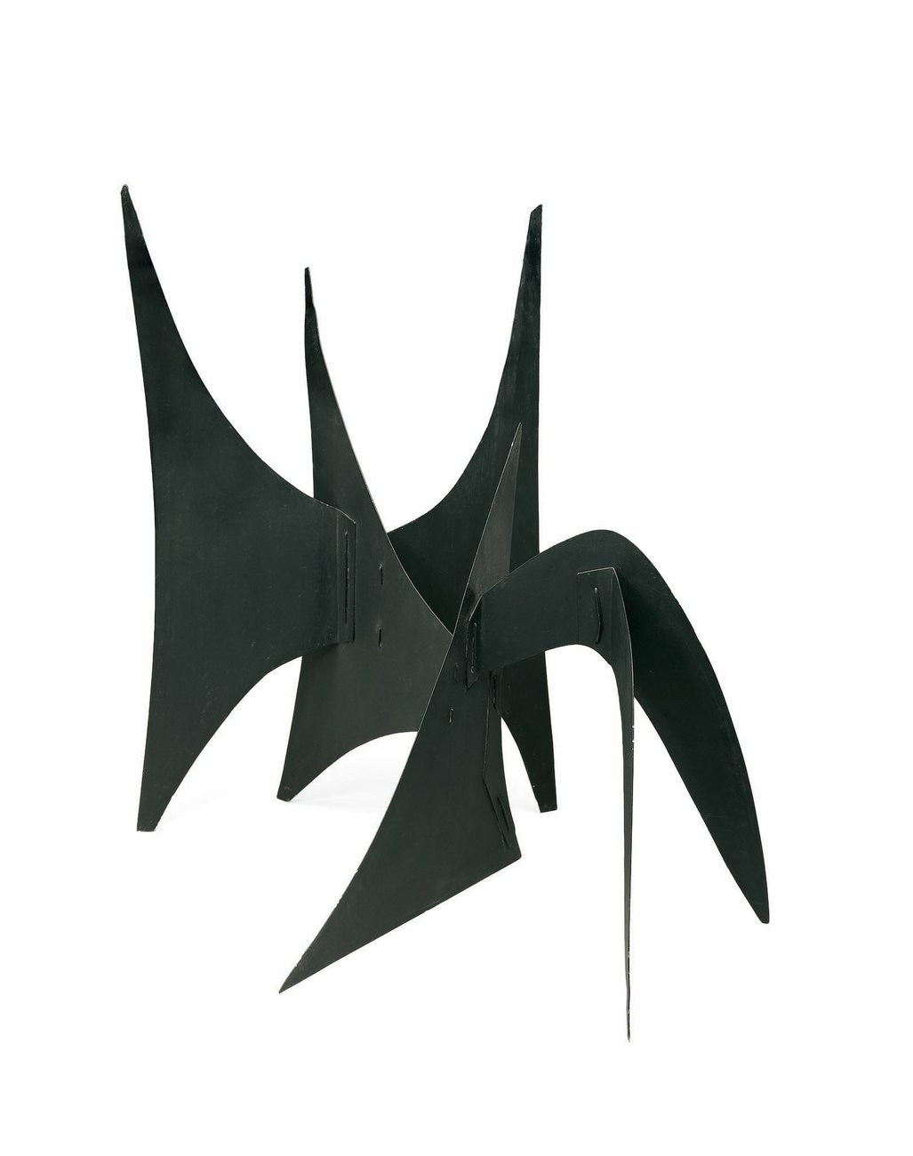 A black metal sculpture of intersecting, curvilinear planes