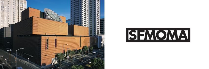 A large brick building with a black and white oculus aside the old SFMOMA logo