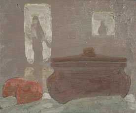 Jess, figurative painting of pot on table