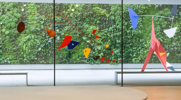Installation view, Alexander Calder: Motion Lab with living wall