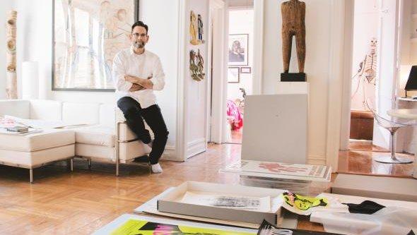 Avram Finkelstein in his home in Brooklyn, New York