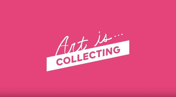 Pink background with white letters saying Art Is Collecting