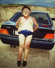 painting of chubby boy in bathing suit leaning on car