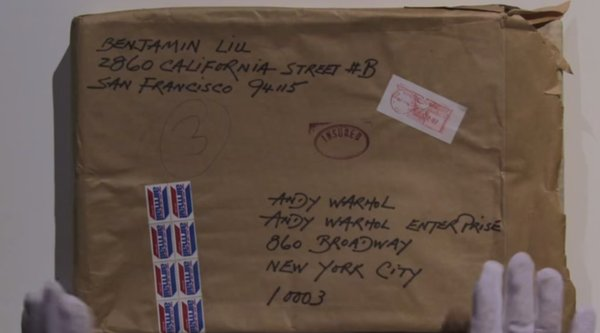 A brown paper-wrapped package addressed to Andy Warhol