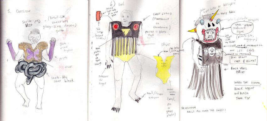 Naomi Rincón Gallardo's costume sketches for The Formaldehyde Trip