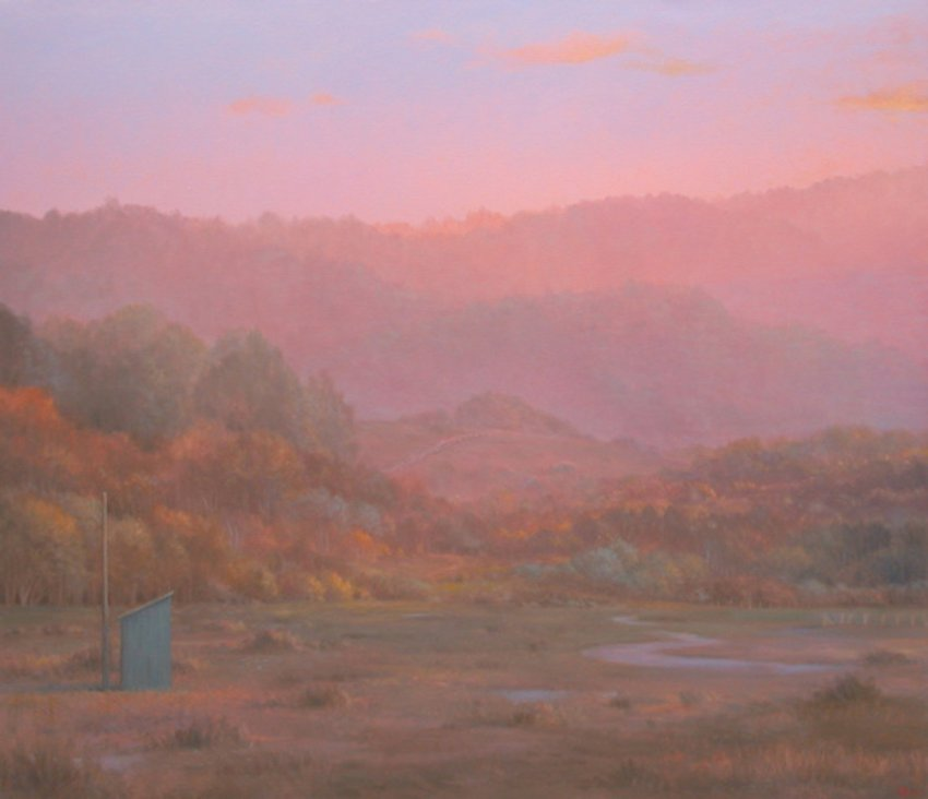 magic hour painting of trees and landscape
