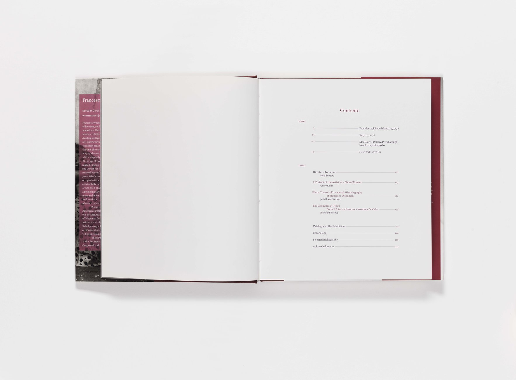 Francesca Woodman publication table of contents