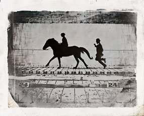 Muybrdige, silhouette of man riding horse with man chasing behind