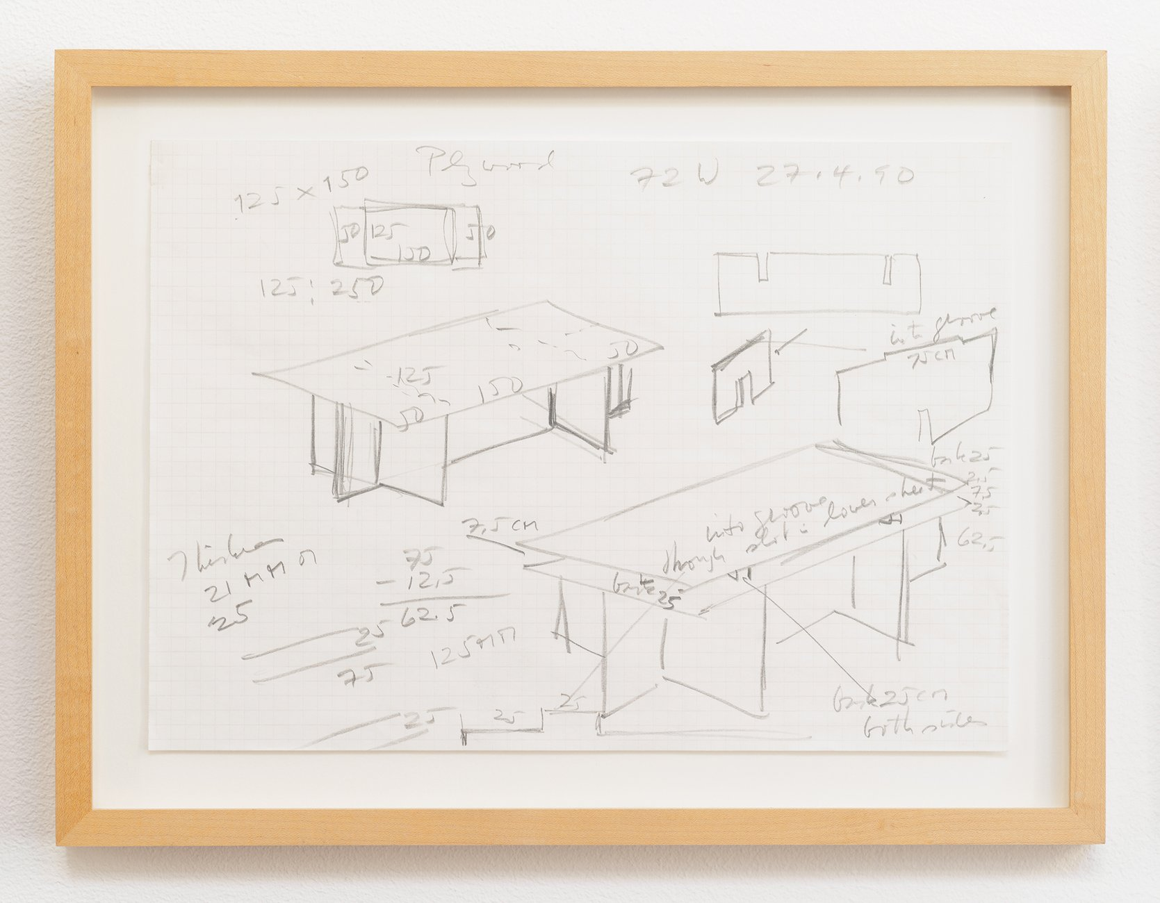 Donald Judd sketches for a desk