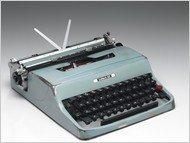 A blue vintage typewriter