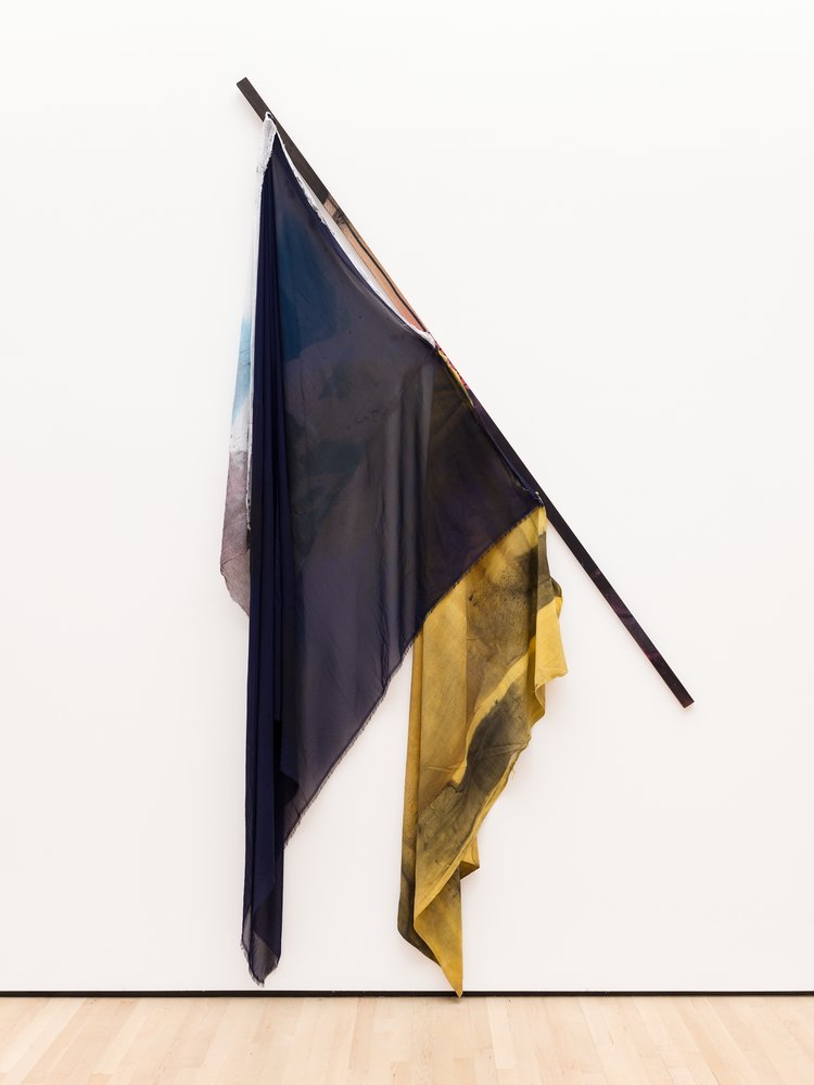 A flag-like sculpture