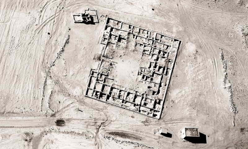 Aerial photograph of an archaeological site