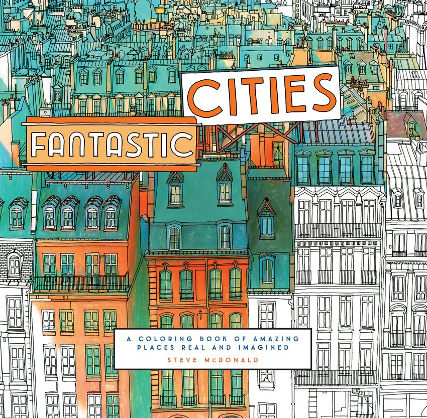 "Cover of the coloring book ""Fantastic Cities"""