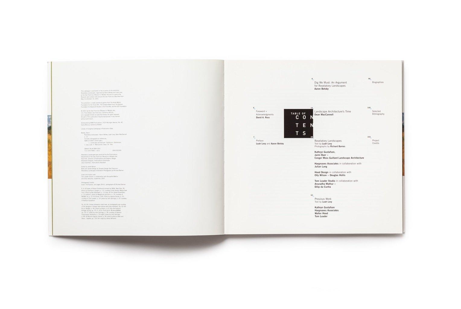 Revelatory Landscapes publication table of contents