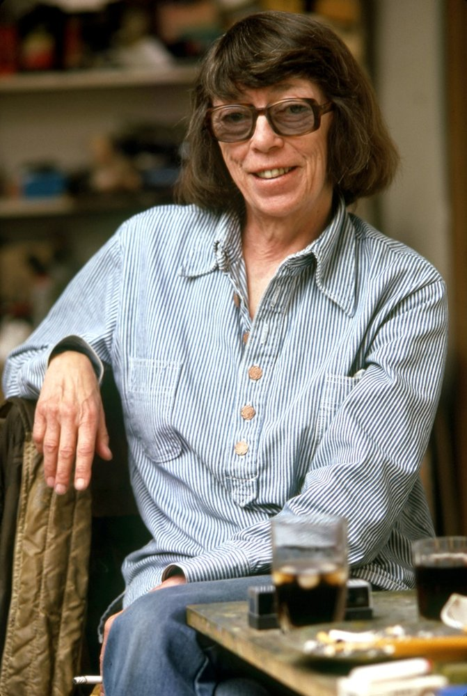 Color photograph of artist Joan Mitchell in her studio
