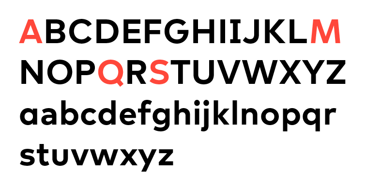 White background with a black alphabet; the A, M, Q, and S are red