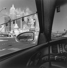 las vegas city scape through car window with car mirror