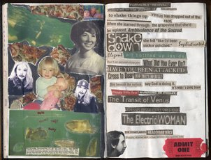 spread of collaged journal