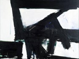 Kline, black triangle and shapes on white background